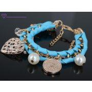 Többsoros kék charm karkötő